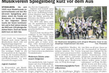 Der MV Spiegelberg im Wochenblatt